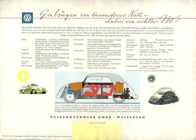 VW Käfer Cabriolet Prospekt 8.1958 2