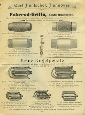 Hentschel, Carl / Hannover Fahrrad Teile Katalog 1904 3