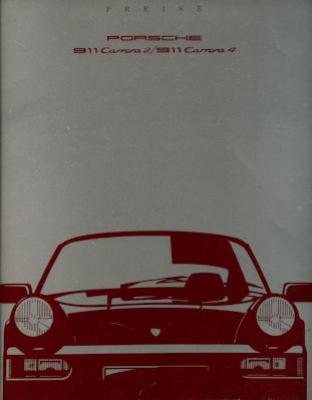 Porsche 911 Preisliste 8.1989