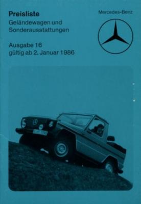 Mercedes-Benz Preisliste G und Sonderausstattung 1986 0
