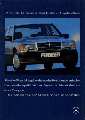 Mercedes-Benz 190 E E 2,3 E 2,6 Prospekt 1986 0