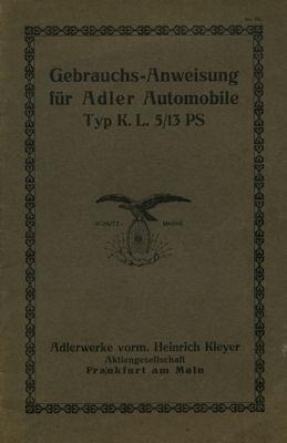 Adler Typ K.L. 5/13 PS Bedienungsanleitung 1911-1920 0