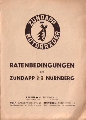 Zündapp Preisliste 1931