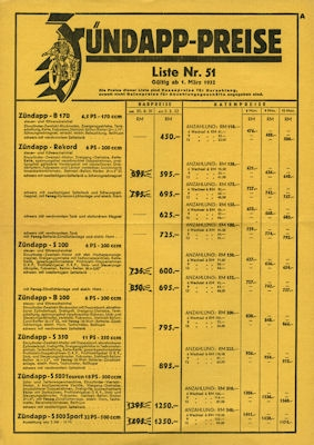 Zündapp Preisliste Nr. 51 1932