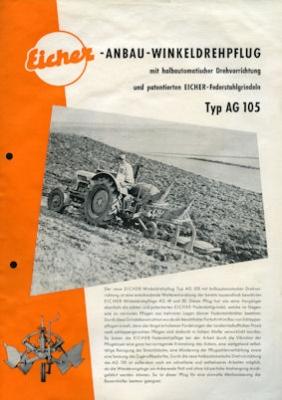 Eicher Anbau-Winkeldrehpflug Prospekt 9.1960 0