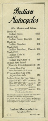 Indian Preisliste 1924 0