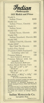 Indian Preisliste 1925