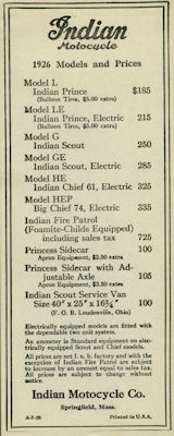 Indian Preisliste 1926