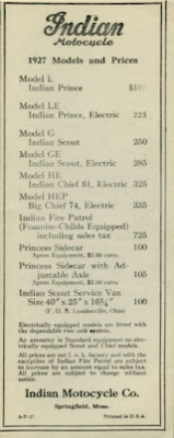 Indian Preisliste 1927