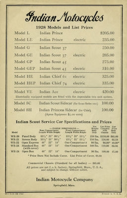 Indian Preisliste 1928
