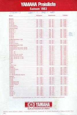 Yamaha Preilsliste 1983