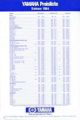 Yamaha Preisliste 1984 0
