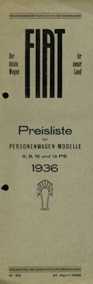 Fiat Preisliste Schweiz Nr. 33 1936