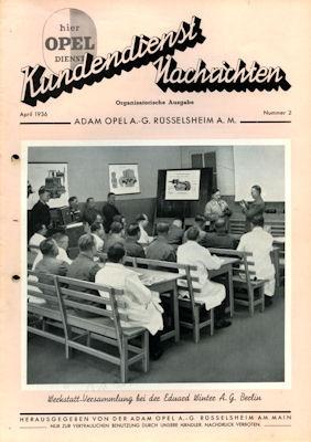Opel Kundendienst Nachrichten April 1936