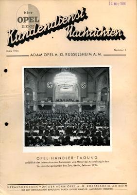 Opel Kundendienst Nachrichten März 1936