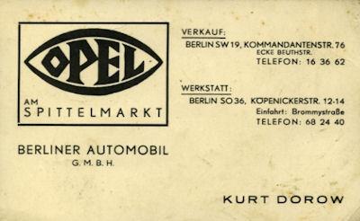 Opel Händler Visitenkarte 1930er Jahre
