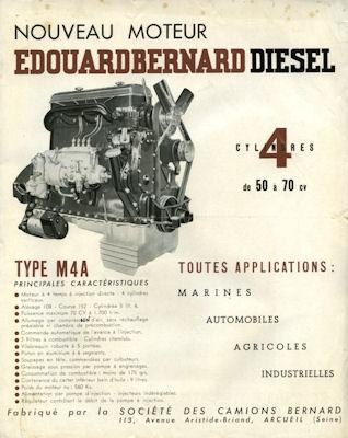 Moteur E.Bernard Diesel M4A Prospekt 1940er Jahre