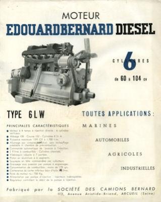 Moteur E. Bernard Diesel 6LW Prospekt 1940er Jahre
