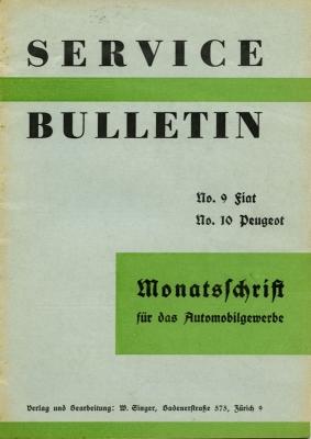 Service Bulletin Fiat und Peugeot 1930er Jahre Nr. 9/10 1937