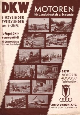 DKW Motoren für die Landwirtschaft Prospekt 1930er Jahre