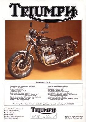 Triumph Bonneville UK Prospekt 1986