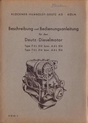 Deutz Dieselmotor F/A4L 514 F/A6L 514 1952
