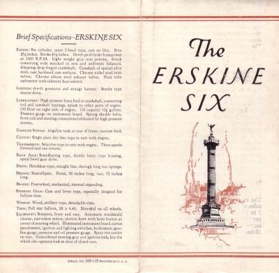 Erskine Six Prospekt 1920er Jahre