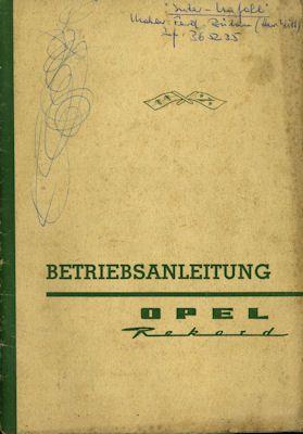 Opel Rekord P 2 Bedienungsanleitung 1962