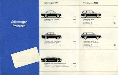 VW Preisliste 8.1963