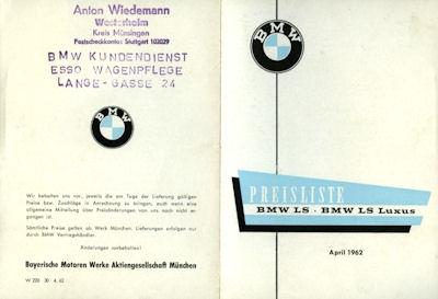 BMW LS Preisliste 4.1962