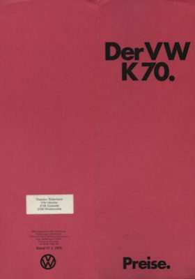 VW K 70 Preisliste 8.1971 / 17.1.1972