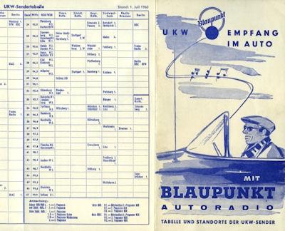 Autoradio Blaupunkt UKW Tabellen 1950er Jahre