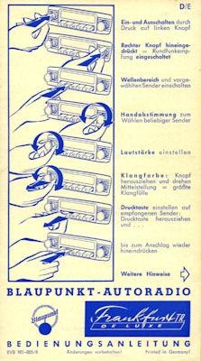 Autoradio Blaupunkt Frankfurt de Luxe Bedienungsanleitung 1950er Jahre