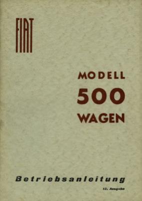 Fiat 500 Topolino A Bedienungsanleitung 1948 / 7.1954
