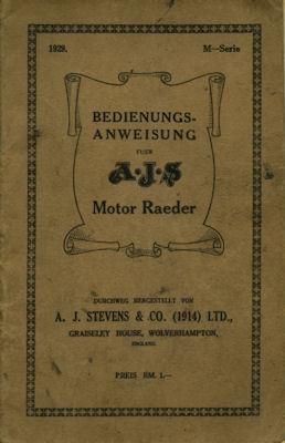 AJS 350 ccm M-Modelle Bedienungsanleitung 1929