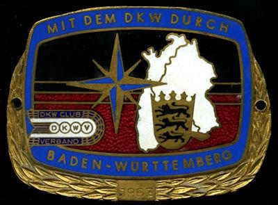 Plakette DKWV Baden-Württemberg Fahrt 1963