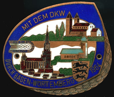 Plakette DKWV Baden-Württemberg Fahrt 1964