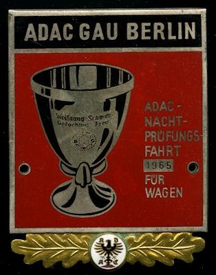 Plakette ADAC Nachprüfungsfahrt Berlin 1965
