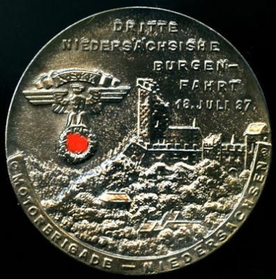 Plakette 3. Niedersächsische Burgenfahrt 18.7.1937