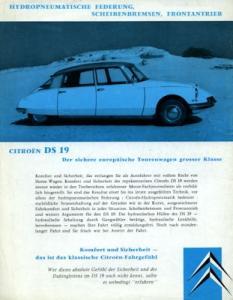 Citroen DS 19 Prospekt ca. 1961