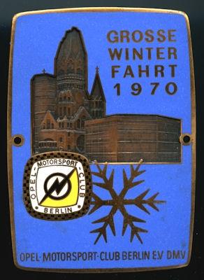 Plakette Opel Winterfahrt Berlin 1970