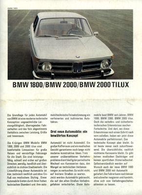 BMW 1800-2000 TILUX Prospekt 8.1968