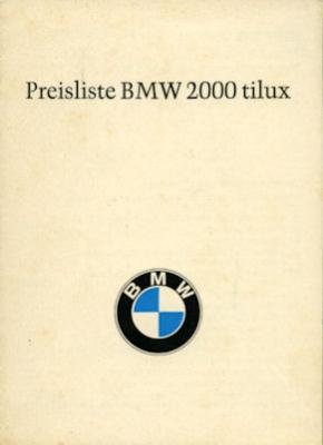 BMW 2000 tilux Preisliste 2.1967