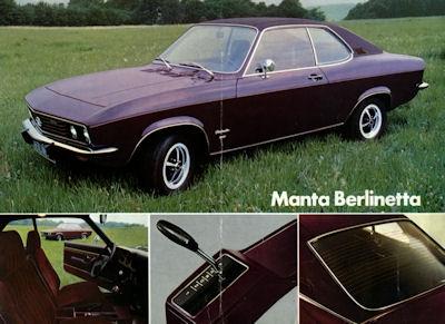 Opel Manta Berlinetta Prospekt 9.1972