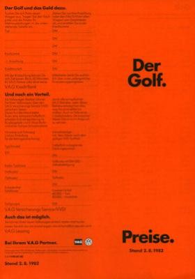 VW Golf 1 Preisliste 8.1982