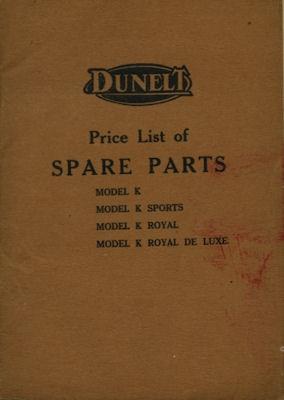 Dunelt Model K Ersatzteilliste 1926-1929