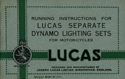 Lucas Bedienungsanleitung ca. 1937