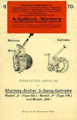 Sturmey-Archer Getriebe Ersatzteilliste 11.1933