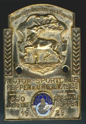 Plakette 600 Jahre Stadt Reppen 1929