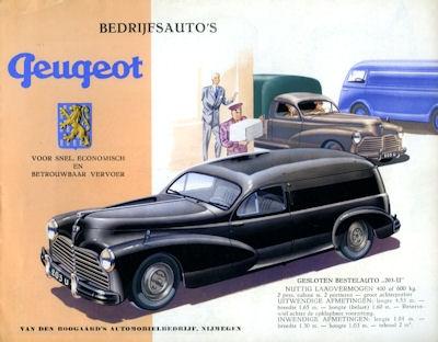 Peugeot Lieferwagen Prospekt 1950er Jahre